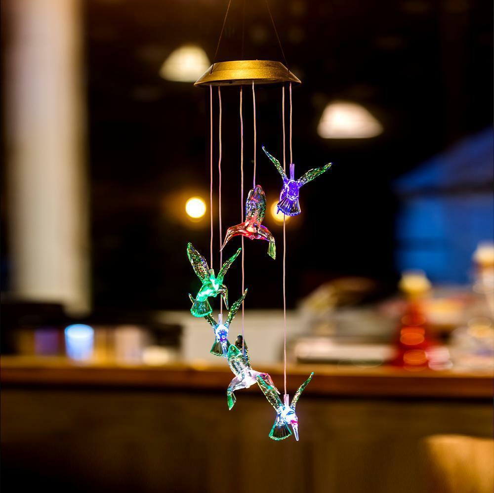 Solar Powered LED Wind Chime Hummingbird Pendant Hanging Win
