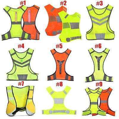 Reflective Vest Safe High Visibility Security Gear Stripes Jacket Night Work Sd