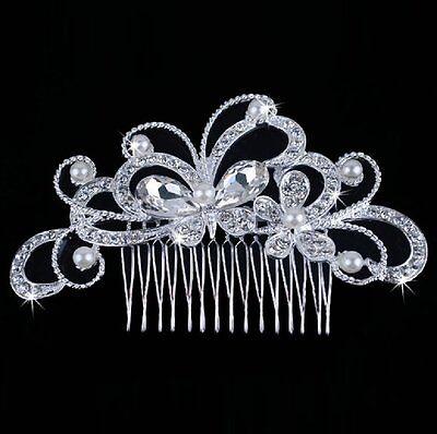 Tiara Diadema para Cabello Flores Mariposa Estrás Perlas Boda Arreglo Del Pelo