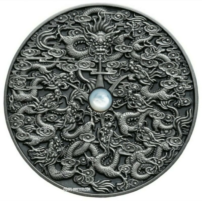 2020 2 Oz Silver NINE DRAGONS Chinese Legend Antique Coin,Mother Of Pearl Insert