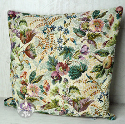 #10837 Kissenhülle Hibiskus Blüten Gobelin Hochwertig Landhaus Barock