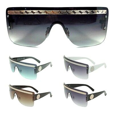 GEORGIO CAPONI RIMLESS SHIELD WRAP SUNGLASSES MEDALLION GREEK KEY HIP HOP (Georgio Caponi Sunglasses)