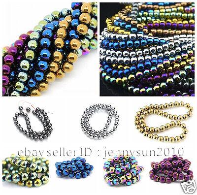 Natural Hematite Gemstone Round Ball Beads 16'' Metallic Color 4mm 6mm 8mm 10mm