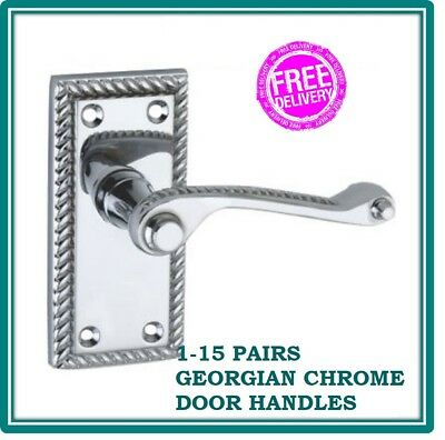 CHROME GEORGIAN ROPE INTERIOR LATCH DOOR HANDLES *FAST & FREE DELIVERY* D6 (Georgian Latch Handles)
