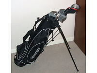 Mens right handed golf clubs Titleist driver 5 wood Hippo irons 3-SW putter Stand bag balls tees