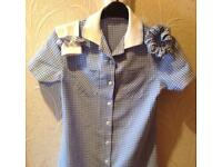 M&S blue and white gingham School Dress, Age 11,9&7