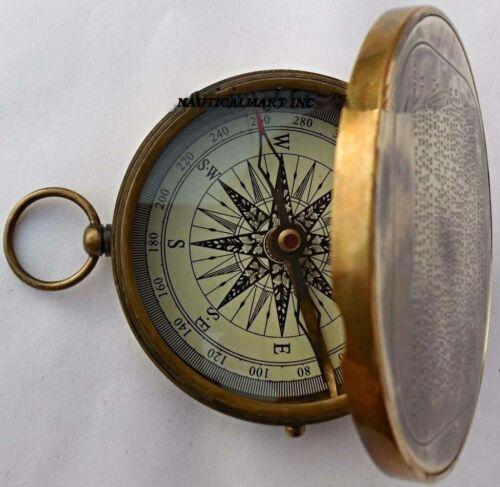 Vintage Antique Robert Frost Poem Compass. C-3142 - Leather Brass Pocket Compass