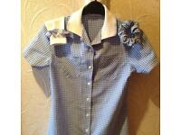 M&S blue and white Gingham School Dress, Age 11
