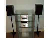 Technics Midi Hifi with Speakers, Stands & Hifi Glass Cabinet £150