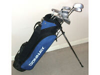 New Unused Mens right hand golf clubs Donnay Extreme woods irons putter stand bag Ideal starter set