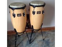Remo Crown Congas + 2 Stagg Conga cases and stands