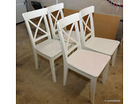 4 x IKEA 'INGOLF' White Dining Kitchen Chairs (matching drop leaf table available too)