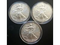 1 oz American Silver Eagle Dollar 3 x 2009 coin mint condition with capsules