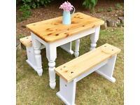 Farmhouse Pine Table & Benches