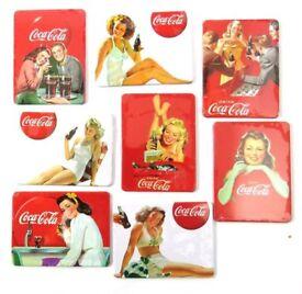 Complete set of 8 Coca Cola fridge magnets commemorating 125 Years of Coca Cola