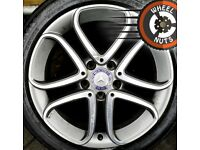 """17"""" Genuine Mercedes alloys A Class VW Golf Caddy Leon excel cond excel tyres."""