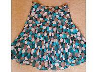 Monsoon 14 silk skirt teal cream brown spot fit flare swirl dot jive smart office Paulton Stapleton