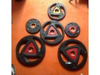 """30kg Total ZIVA 15kg x2 2"""" Olympic Weight Plates PolyUrethane Commercial"""