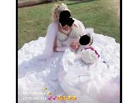 Selling of beautiful wedding dress and bridesmaid stresses mini bride and flower girl open to offers