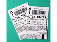2x Alton Towers - Thursday 26 April