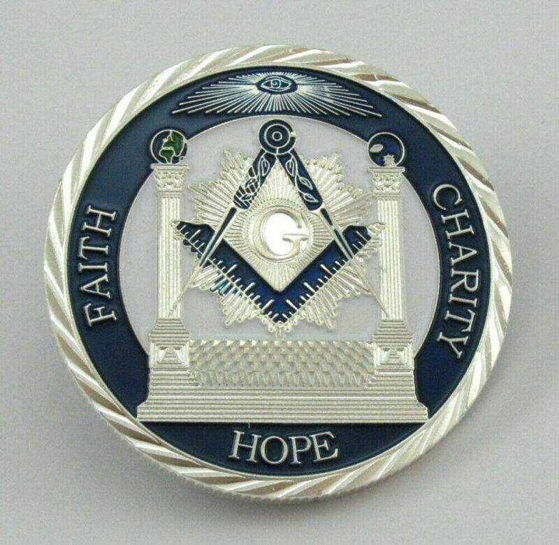 Masonic Freemason Freemasonry Faith Hope Charity Challenge Silver Coin Token