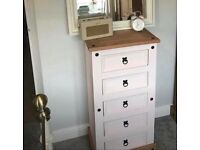 Painted pine tallboy chest of drawers.