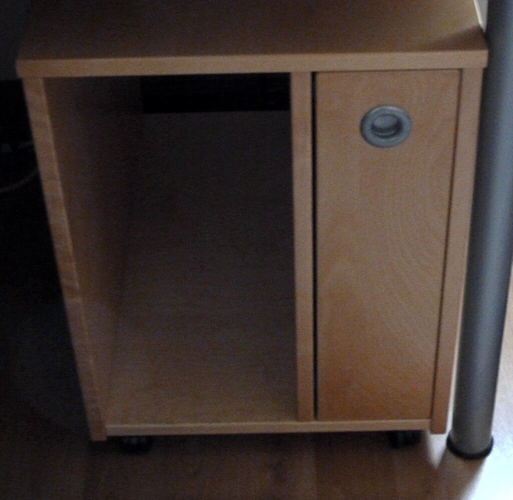 Wooden Ikea Computer Cabinet For Under Desk With Pull Out Drawer Tidy