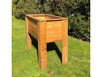 Raised Trough Garden Planter, hand-made with treated wood incl liner with drainage holes