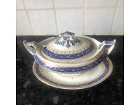Antique Late Victorian (1890's) 'Blue Scroll Design' Small Soup/Vegetable Tureen