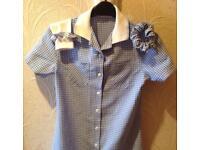 M&S blue & white gingham School Dress, Age 11,9&7