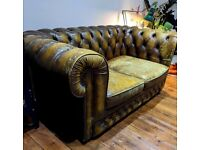 Vintage leather chesterfield sofa 2 seater