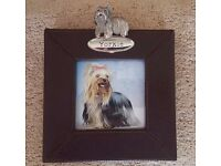 2 X Dog Leather Photo Frames with Breed Metallic Name Plate - VARIOUS BREEDS