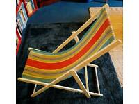 CAN DELIVER Vintage deck chair, white painted frame and striped canvas