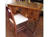 Pretty Little Antique Leather Topped Walnut Writing Desk - WE CAN DELIVER ACROSS UK