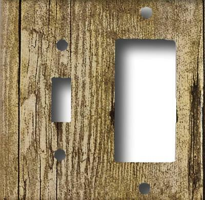 (Rustic Barn Wood Design Look Single Toggle Rocker GFCI Combo  Wall Plate )