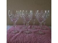 Set of Six Crystal Wine Glasses