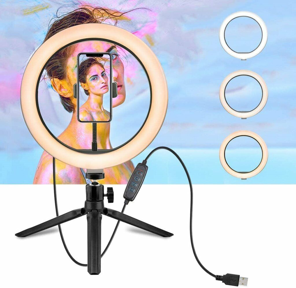10″ LED Ring Light with Tripod Stand & Phone Holder Dimmable Desk Ringlight Kit Cameras & Photo