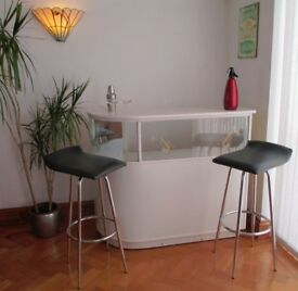 VINTAGE RETRO MID CENTURY 1960's COCKTAIL BAR, 2 SWIVEL STOOLS AND EXTRAS, FORMICA.,