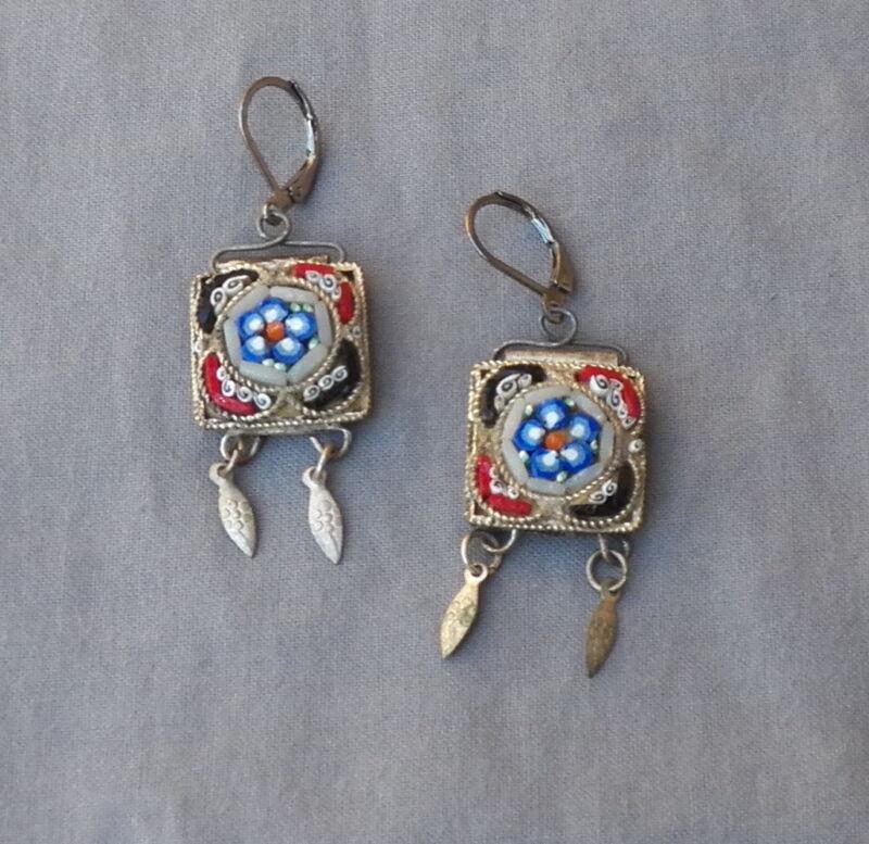 Vintage Victorian Style Floral Drop Dangle Micro Mosaic Pierced Earrings