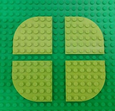 *NEW* Lego Lime Green Baseplate 6x6 Stud Round Edge Platform Base plate-4 pieces - Lime Green Base