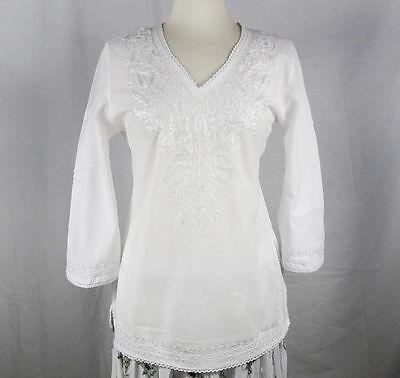 Indian Tunic Shirt (Indian Embroidered Boho Bollywood Top Tunic Shirt Kurtis Kurta Cotton WHITE )