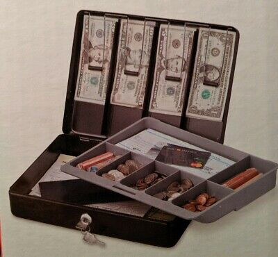 Sentrysafe Deluxe Cash Lock Box With Money Tray Key Lock 5 Compartment