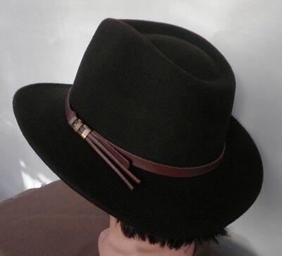 t Cowboyhut Dunkelbraun Schwarz Herren Damenhüte Wolle (Schwarze Cowboy-hüte)