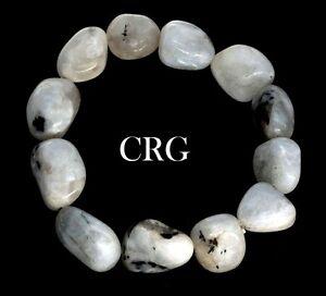 Classic Tumbled 15-20mm Rainbow Moonstone Beads Stretch Bracelet (BR52DG)