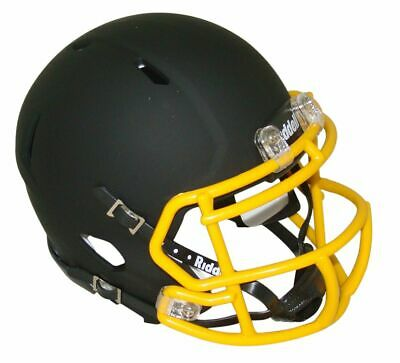 Matte Black with Gold Mask Blank Riddell Revolution SPEED Mini Football Helmet (Black Blank Mask)