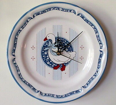 Collectible Cobalt Blue & White Goose Ceramic Plate Wall Clock