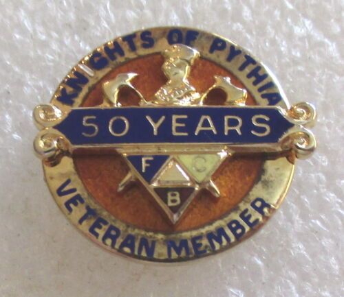 Vintage Knights of Pythias 50 Year Veteran Award Pin - Sterling