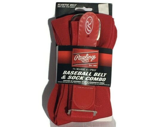 Rawlings Youth Red Baseball Belt & Sock Combo Pack S, M