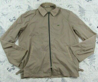 Vintage Izod Lacoste Windbreaker Khaki Beige Tan Jacket Light Nylon men's XL