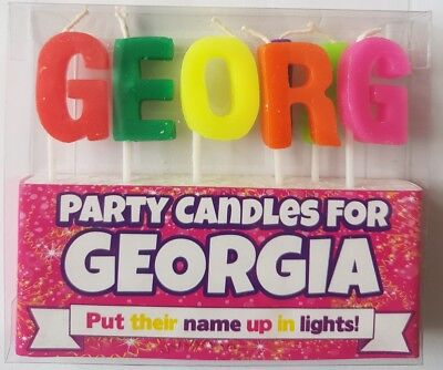 GEORGINA Alphabet GIRL Birthday Candles Personalised Put Their Name In Lights - Alphabet Candles